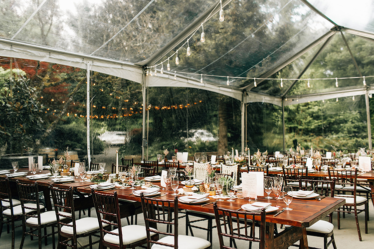 wedding reception ideas - photo by Jenna Bechtholt Photography http://ruffledblog.com/boho-pacific-northwest-forest-wedding-with-king-protea