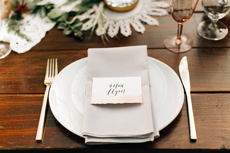 romantic place settings - photo by Jenna Bechtholt Photography http://ruffledblog.com/boho-pacific-northwest-forest-wedding-with-king-protea