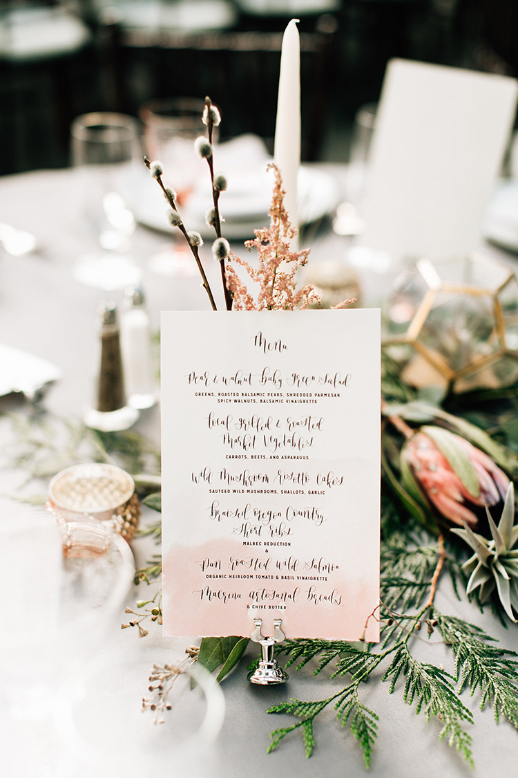 watercolor dipped paper goods - photo by Jenna Bechtholt Photography http://ruffledblog.com/boho-pacific-northwest-forest-wedding-with-king-protea