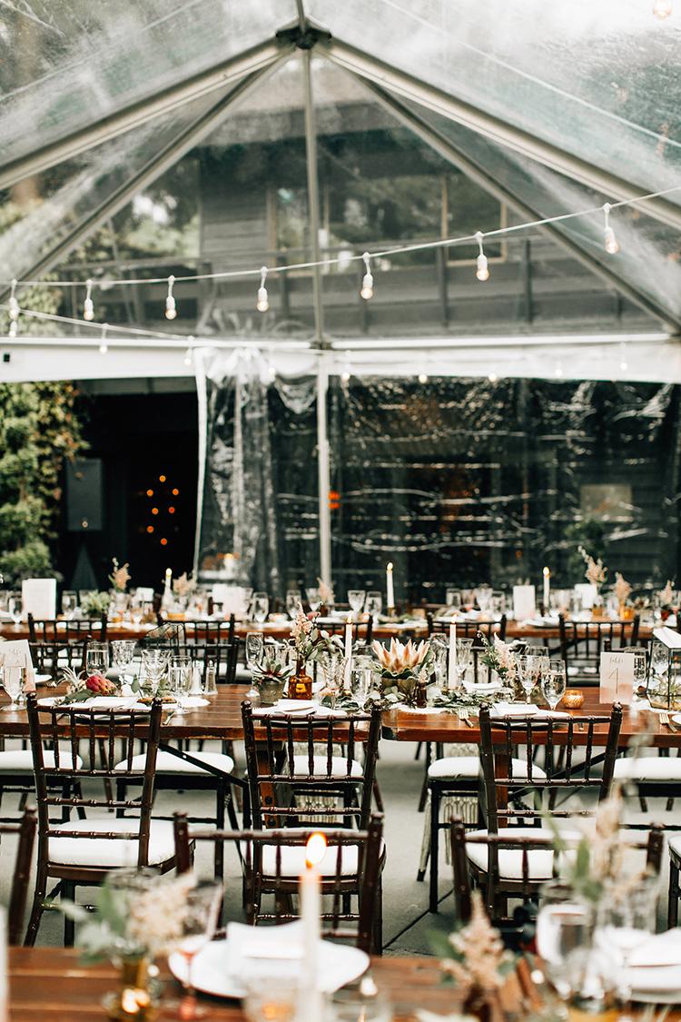 woodland wedding receptions - photo by Jenna Bechtholt Photography https://ruffledblog.com/boho-pacific-northwest-forest-wedding-with-king-protea