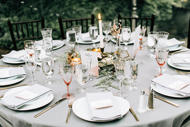 gray wedding inspiration - photo by Jenna Bechtholt Photography http://ruffledblog.com/boho-pacific-northwest-forest-wedding-with-king-protea