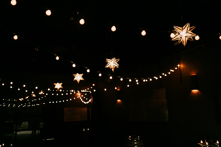 wedding lights - photo by Jenna Bechtholt Photography http://ruffledblog.com/boho-pacific-northwest-forest-wedding-with-king-protea