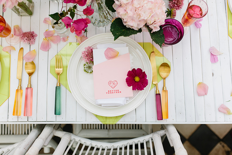 romantic place settings - photo by Kas Richards https://ruffledblog.com/bold-bohemian-wedding-inspiration-with-a-balloon-display