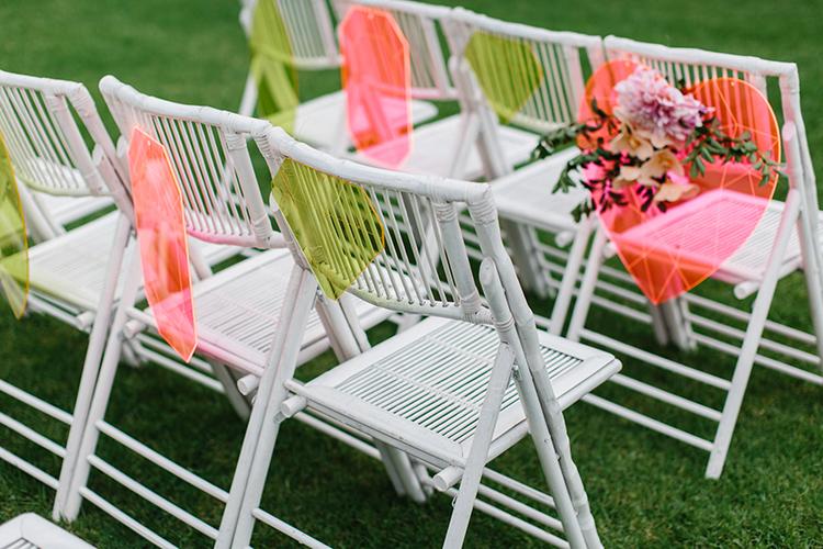 wedding seating - photo by Kas Richards http://ruffledblog.com/bold-bohemian-wedding-inspiration-with-a-balloon-display