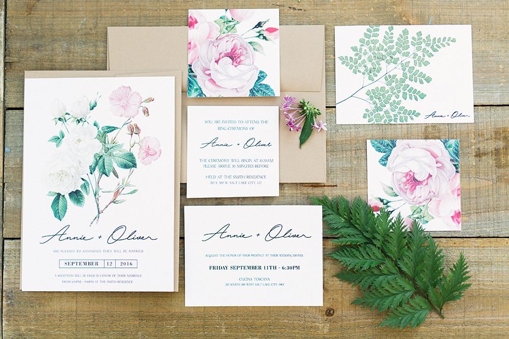 garden inspired wedding invitations - photo by Gideon Photography http://ruffledblog.com/botanical-wedding-ideas-in-the-mountains-of-southern-utah