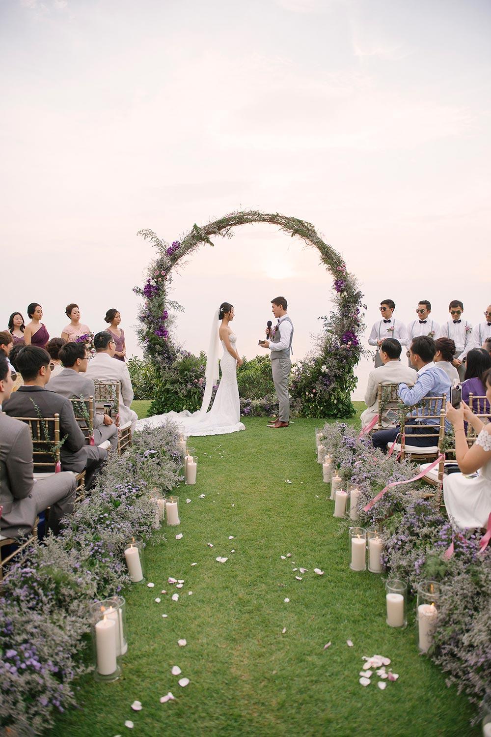 circular floral arch wedding ceremony thailand