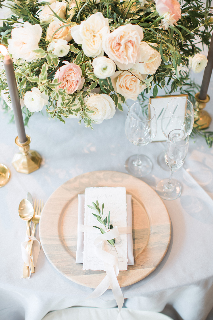 soft and romantic table settings - photo by Hunter Ryan Photo https://ruffledblog.com/breezy-seaside-wedding-with-cascading-greenery