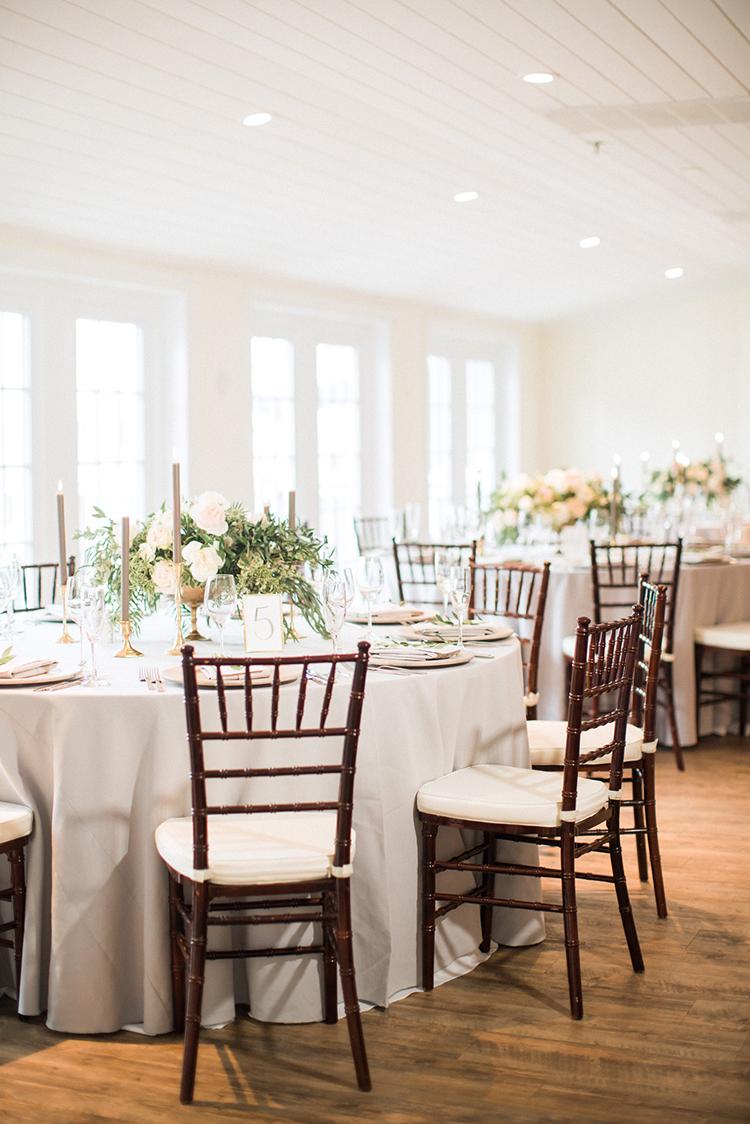 classic wedding receptions - photo by Hunter Ryan Photo http://ruffledblog.com/breezy-seaside-wedding-with-cascading-greenery