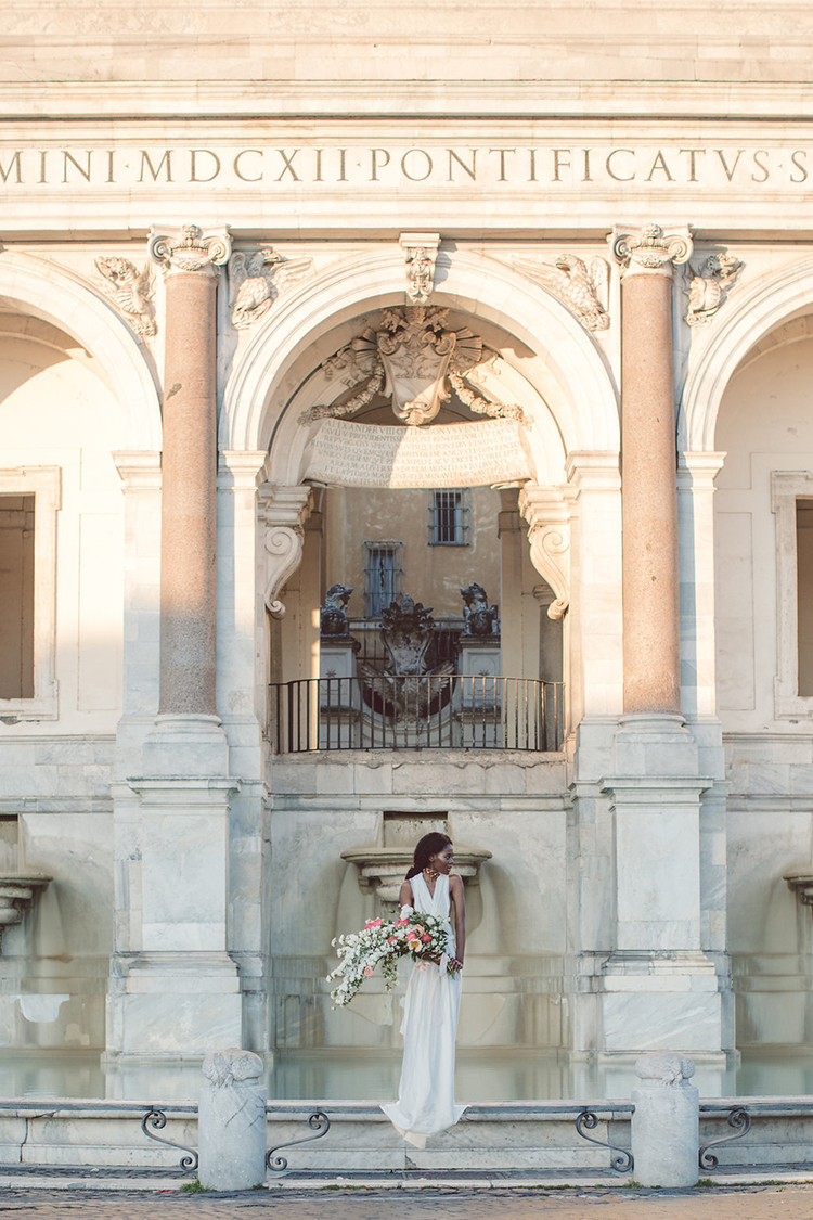Bridal Portraits During a Roman Sunrise - photo by Lilly Red Creative https://ruffledblog.com/bridal-portraits-during-a-roman-sunrise