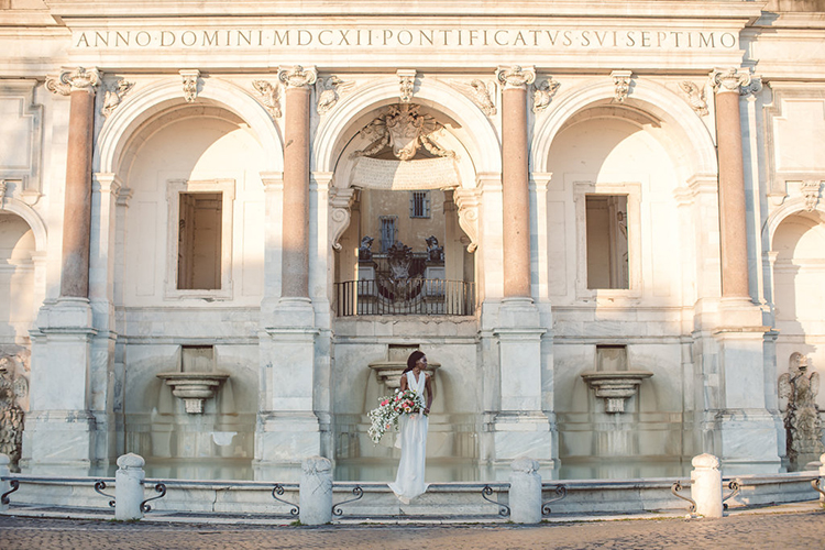 wedding portraits in Rome - photo by Lilly Red Creative https://ruffledblog.com/bridal-portraits-during-a-roman-sunrise