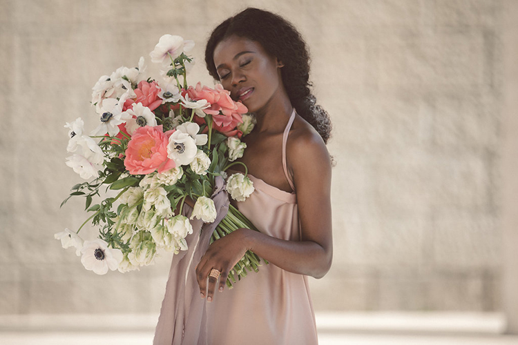 wedding bouquets with anemone - photo by Lilly Red Creative https://ruffledblog.com/bridal-portraits-during-a-roman-sunrise
