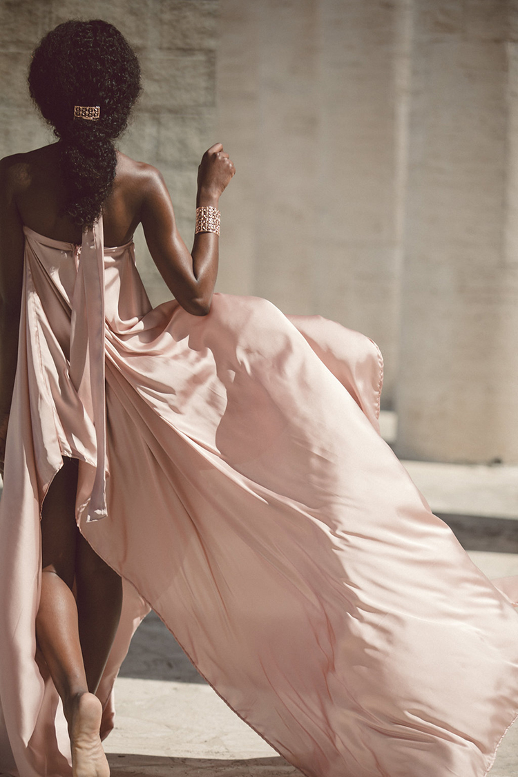 pink silk wedding dresses - photo by Lilly Red Creative http://ruffledblog.com/bridal-portraits-during-a-roman-sunrise