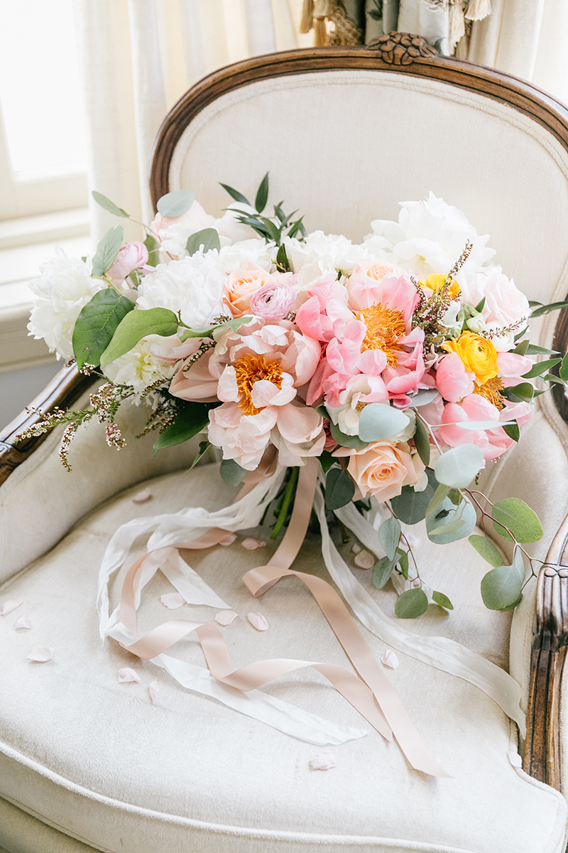 romantic bouquets with peonies - photo by Emily Wren Photography http://ruffledblog.com/bright-beautiful-summer-wedding-with-geometric-accents