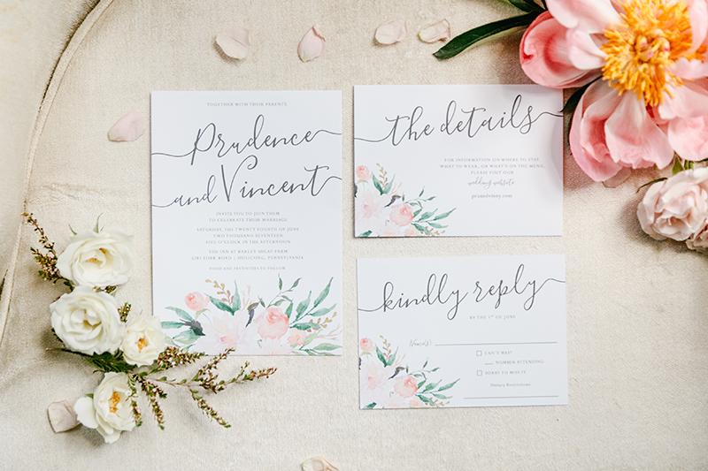 romantic wedding stationery - photo by Emily Wren Photography https://ruffledblog.com/bright-beautiful-summer-wedding-with-geometric-accents