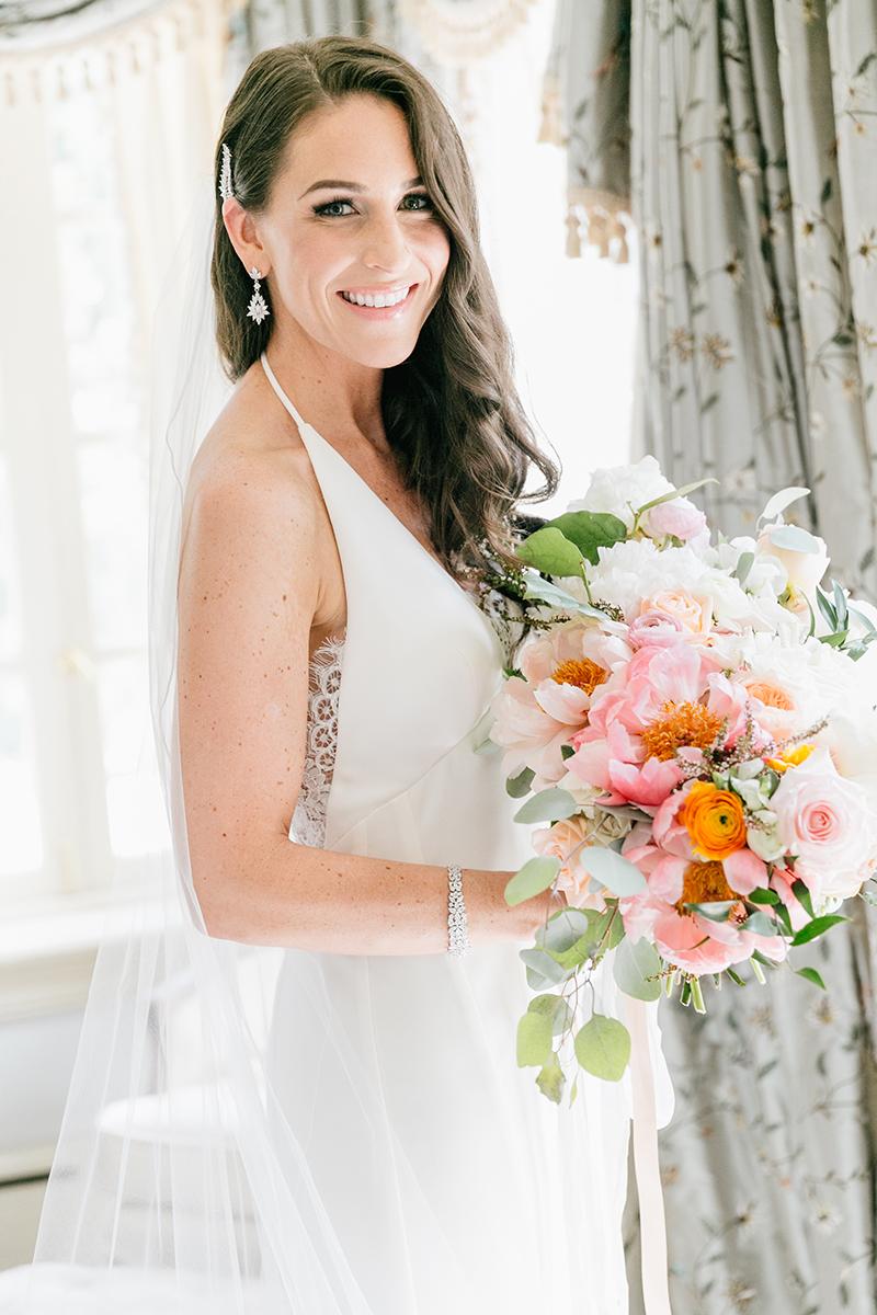 romantic glam bridal looks - photo by Emily Wren Photography http://ruffledblog.com/bright-beautiful-summer-wedding-with-geometric-accents