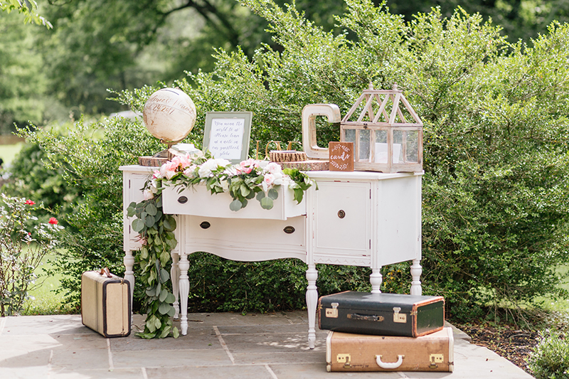 wedding vignette tables - photo by Emily Wren Photography http://ruffledblog.com/bright-beautiful-summer-wedding-with-geometric-accents