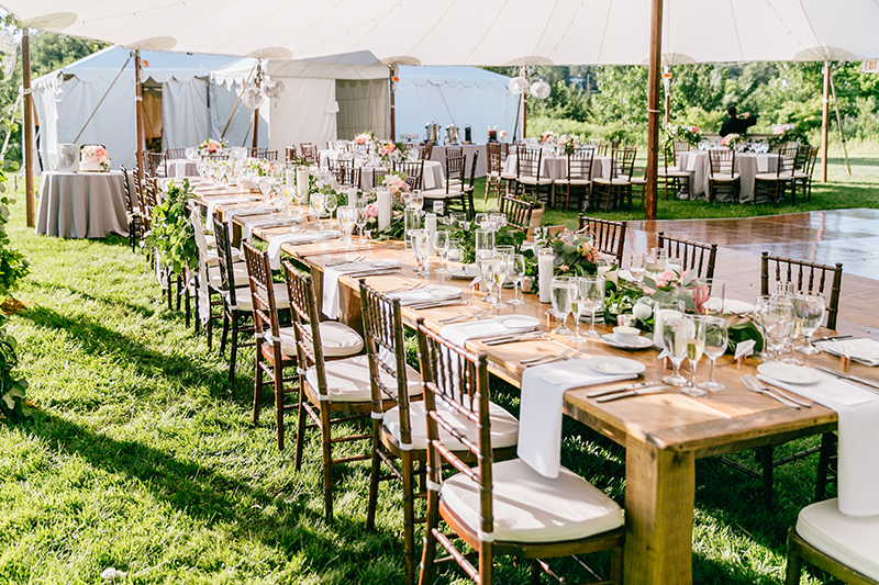 tented wedding receptions - photo by Emily Wren Photography https://ruffledblog.com/bright-beautiful-summer-wedding-with-geometric-accents