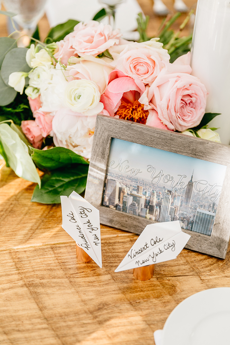 place card ideas - photo by Emily Wren Photography https://ruffledblog.com/bright-beautiful-summer-wedding-with-geometric-accents