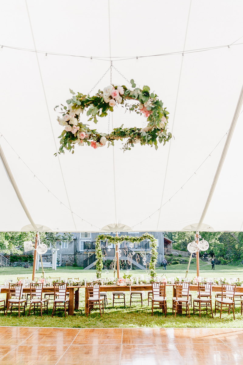 romantic tented weddings - photo by Emily Wren Photography http://ruffledblog.com/bright-beautiful-summer-wedding-with-geometric-accents