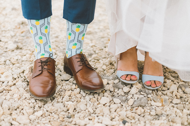 matching bride and groom details - https://ruffledblog.com/bright-colorful-destination-wedding-in-maui