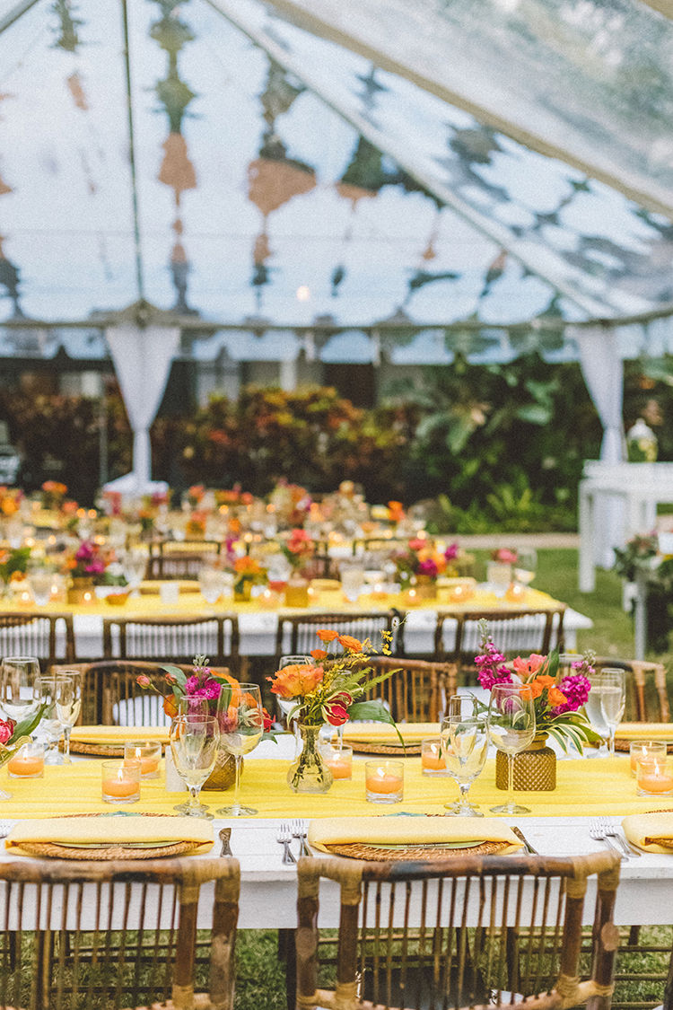 tropical wedding themes with yellow - https://ruffledblog.com/bright-colorful-destination-wedding-in-maui