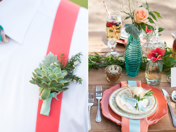 succulent boutonniere - photo by Rebecca Ellison Photography https://ruffledblog.com/coral-and-mint-dallas-wedding