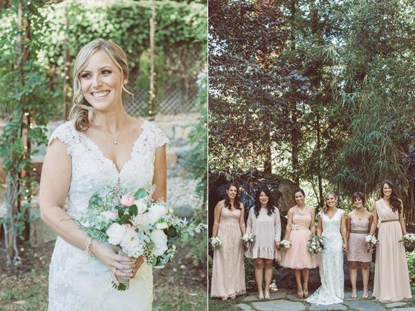 bride and bridesmaids - photo by Hazelwood Photo https://ruffledblog.com/handcrafted-wedding-at-calamigos-ranch