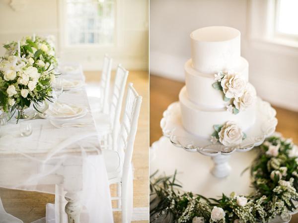 three tier wedding cake - photo by Kelly Lemon Photography https://ruffledblog.com/monochrome-spring-wedding-editorial