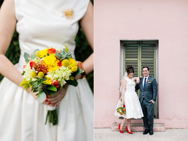 mod bride and groom - photo by Christina Karst Photography https://ruffledblog.com/retro-1950s-wedding-in-st-augustine