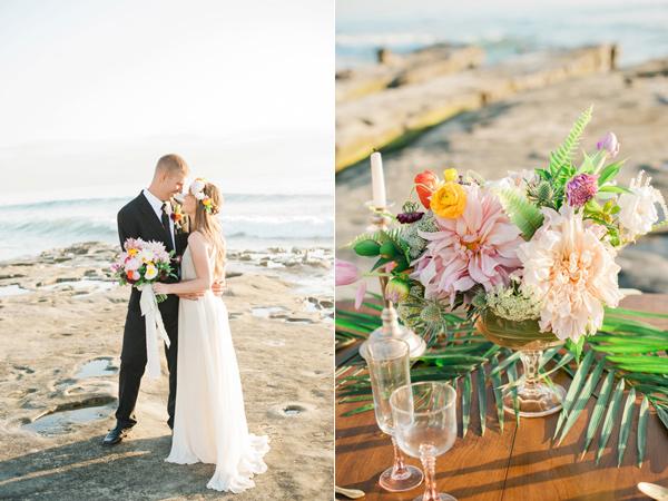 tropical La Jolla Cove beach wedding inspiration - photo by Hillary Muelleck Photography https://ruffledblog.com/tropical-la-jolla-cove-beach-wedding-inspiration