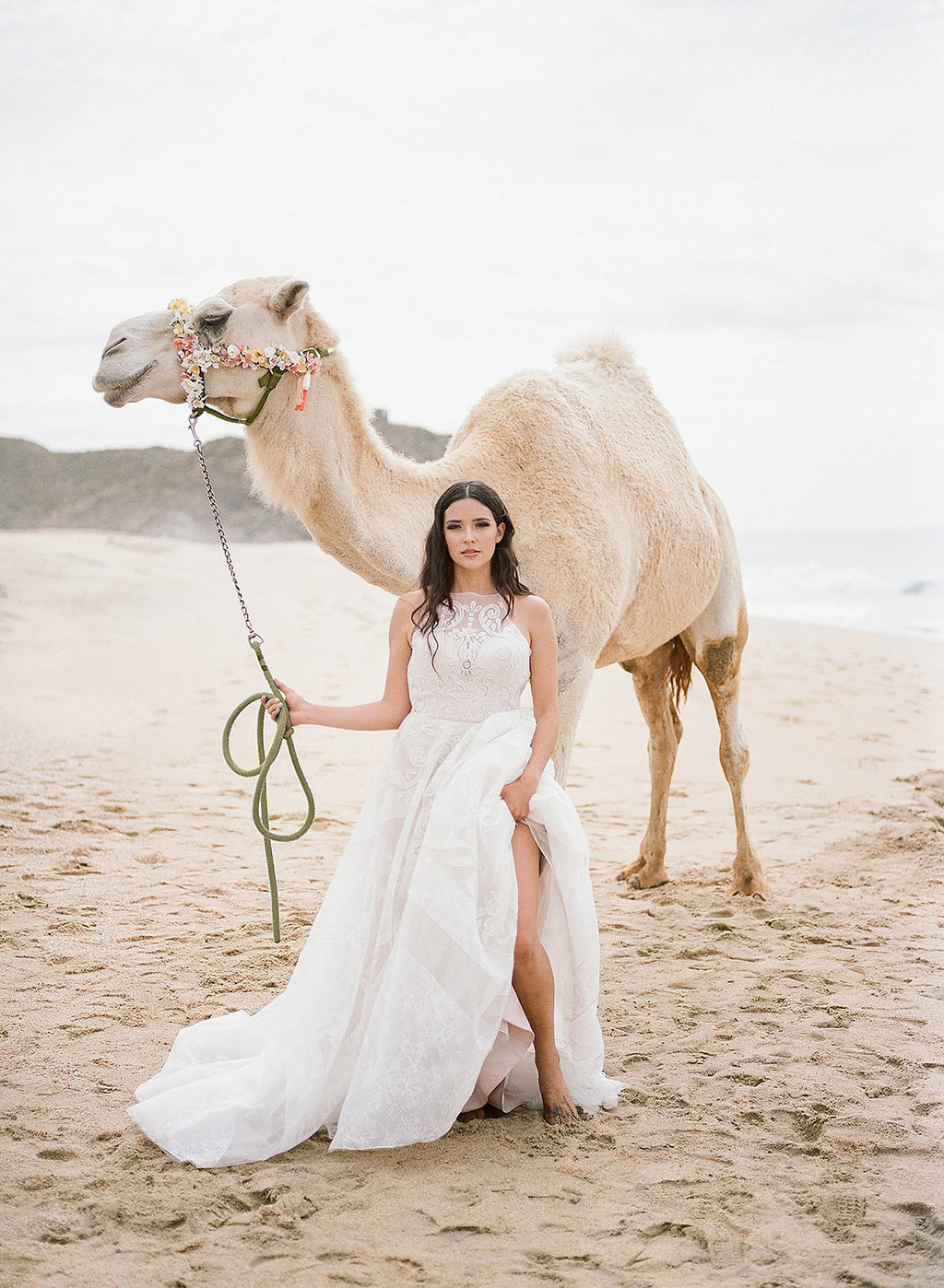 bride with camel on the beach