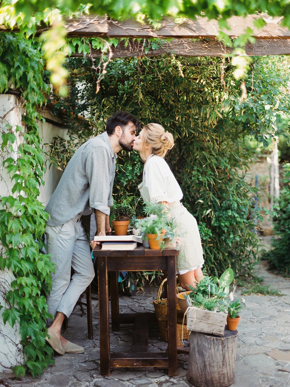 gardening engagement session potted plants