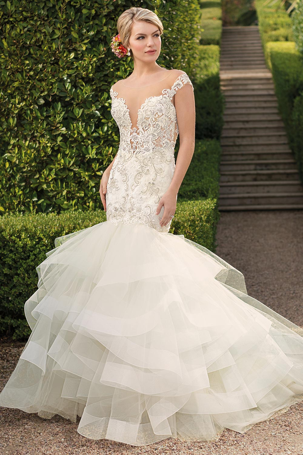 dramatic ruffled fit and flare wedding dress