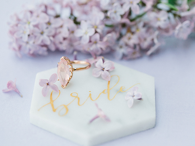 pink engagement rings - photo by This Love of Yours Photography http://ruffledblog.com/charming-wedding-inspiration-with-a-lush-floral-arch