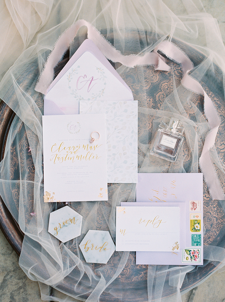 romantic wedding stationery - photo by This Love of Yours Photography http://ruffledblog.com/charming-wedding-inspiration-with-a-lush-floral-arch