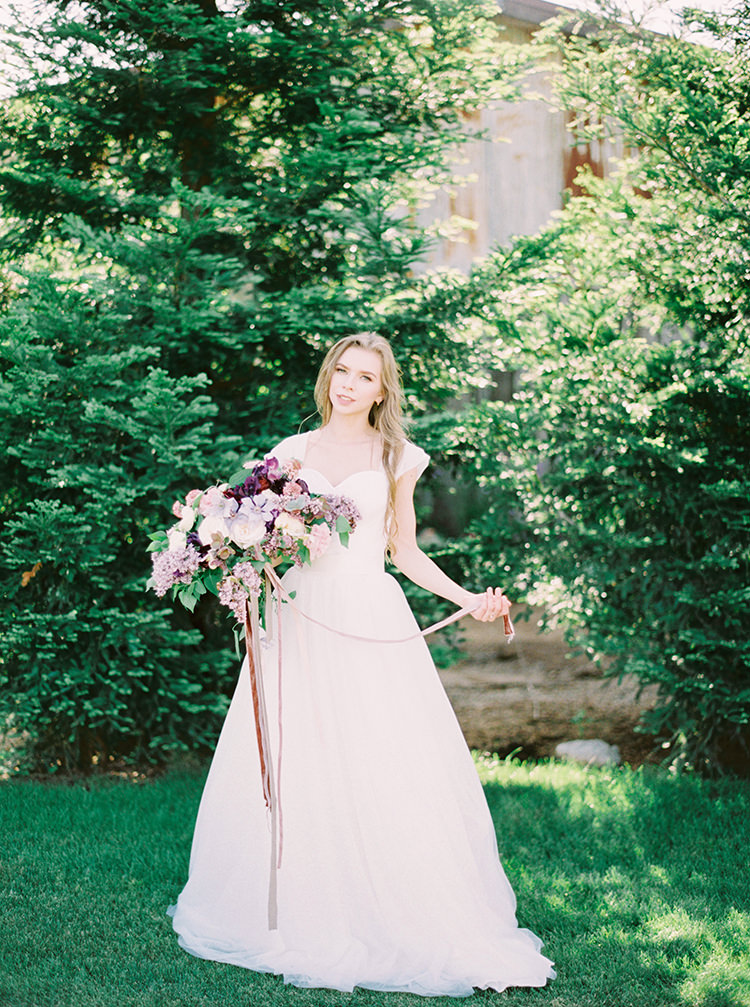 romantic bridal inspiration - photo by This Love of Yours Photography https://ruffledblog.com/charming-wedding-inspiration-with-a-lush-floral-arch