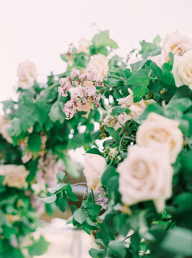 dusty pink roses - photo by This Love of Yours Photography https://ruffledblog.com/charming-wedding-inspiration-with-a-lush-floral-arch