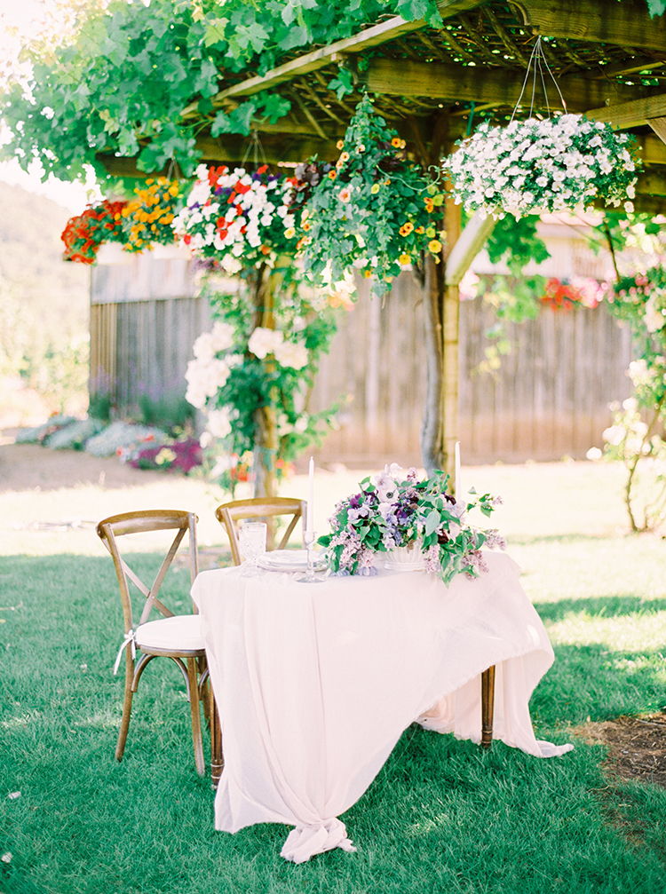 romantic garden wedding receptions - photo by This Love of Yours Photography http://ruffledblog.com/charming-wedding-inspiration-with-a-lush-floral-arch