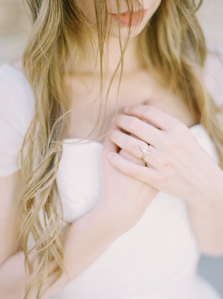 unique engagement rings - photo by This Love of Yours Photography http://ruffledblog.com/charming-wedding-inspiration-with-a-lush-floral-arch