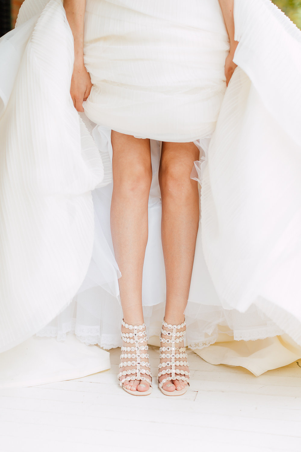 bridal shoes - photo by Purple Tree Photography http://ruffledblog.com/charming-wine-country-wedding-at-kurtz-orchard