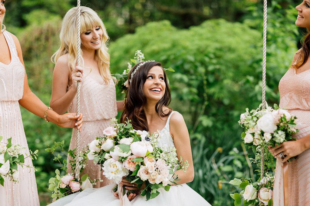 bride and bridesmaids - photo by Purple Tree Photography https://ruffledblog.com/charming-wine-country-wedding-at-kurtz-orchard