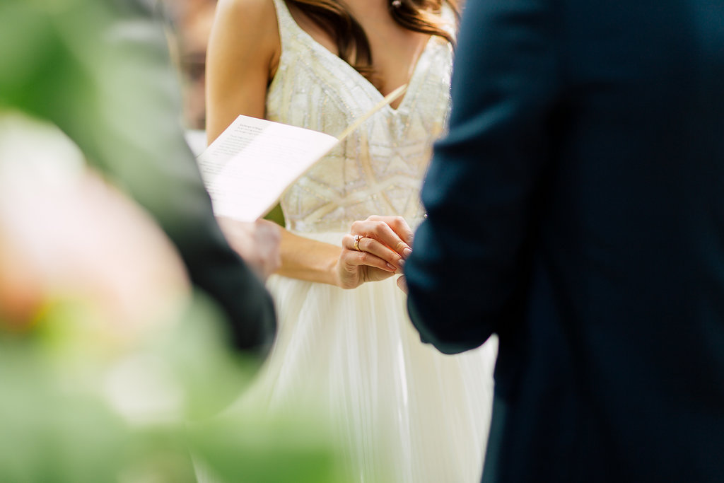 ceremony vows - photo by Purple Tree Photography http://ruffledblog.com/charming-wine-country-wedding-at-kurtz-orchard