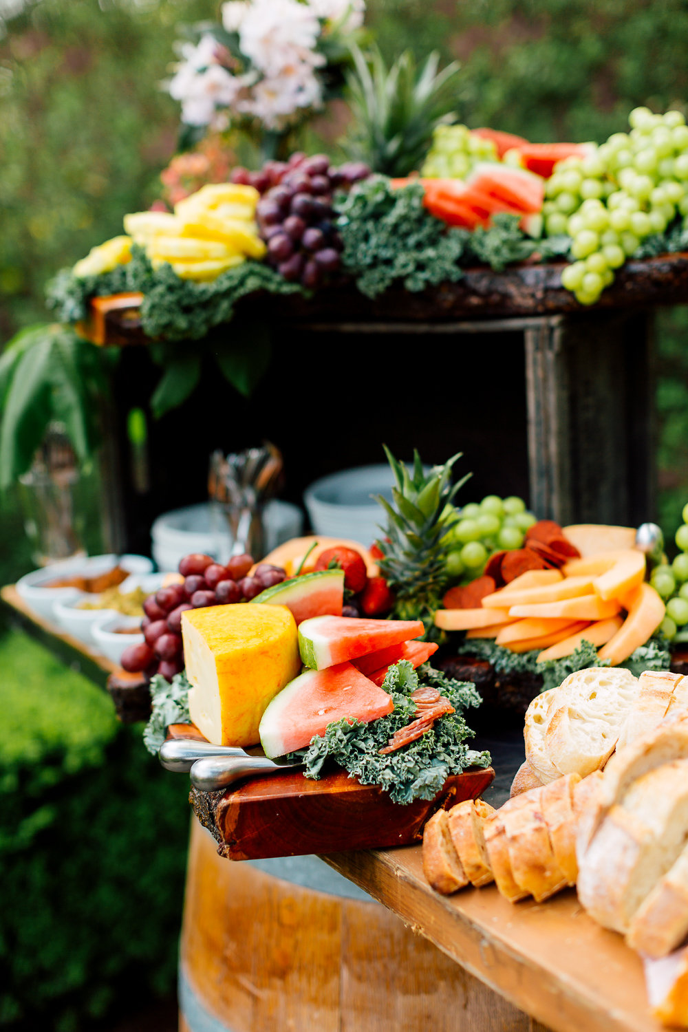 fruit tables - photo by Purple Tree Photography http://ruffledblog.com/charming-wine-country-wedding-at-kurtz-orchard