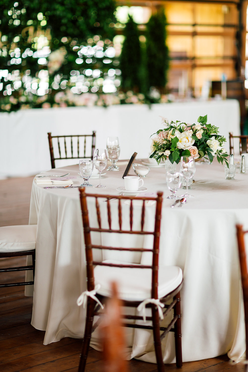 wedding reception tables - photo by Purple Tree Photography http://ruffledblog.com/charming-wine-country-wedding-at-kurtz-orchard