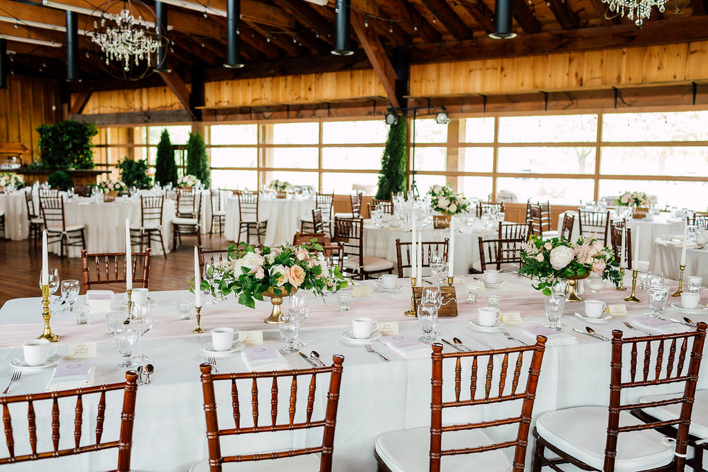 wedding tables - photo by Purple Tree Photography http://ruffledblog.com/charming-wine-country-wedding-at-kurtz-orchard