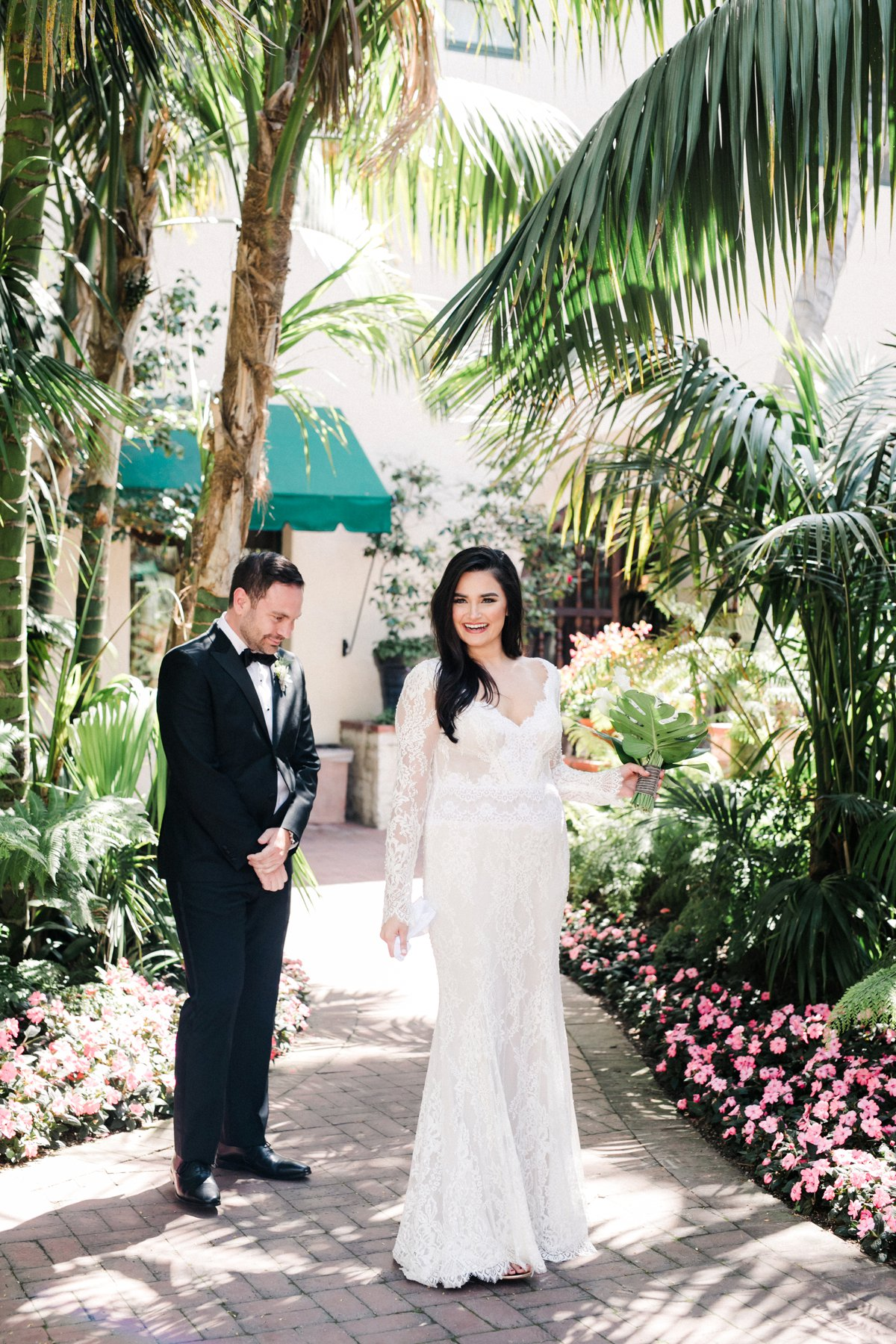 wedding first looks - photo by Anna Delores https://ruffledblog.com/chic-modern-wedding-at-four-seasons-santa-barbara