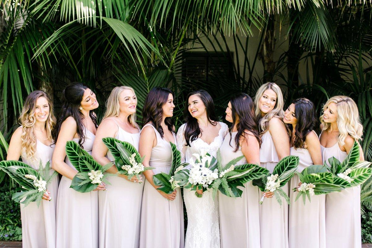 light neutral bridesmaid dresses - photo by Anna Delores https://ruffledblog.com/chic-modern-wedding-at-four-seasons-santa-barbara