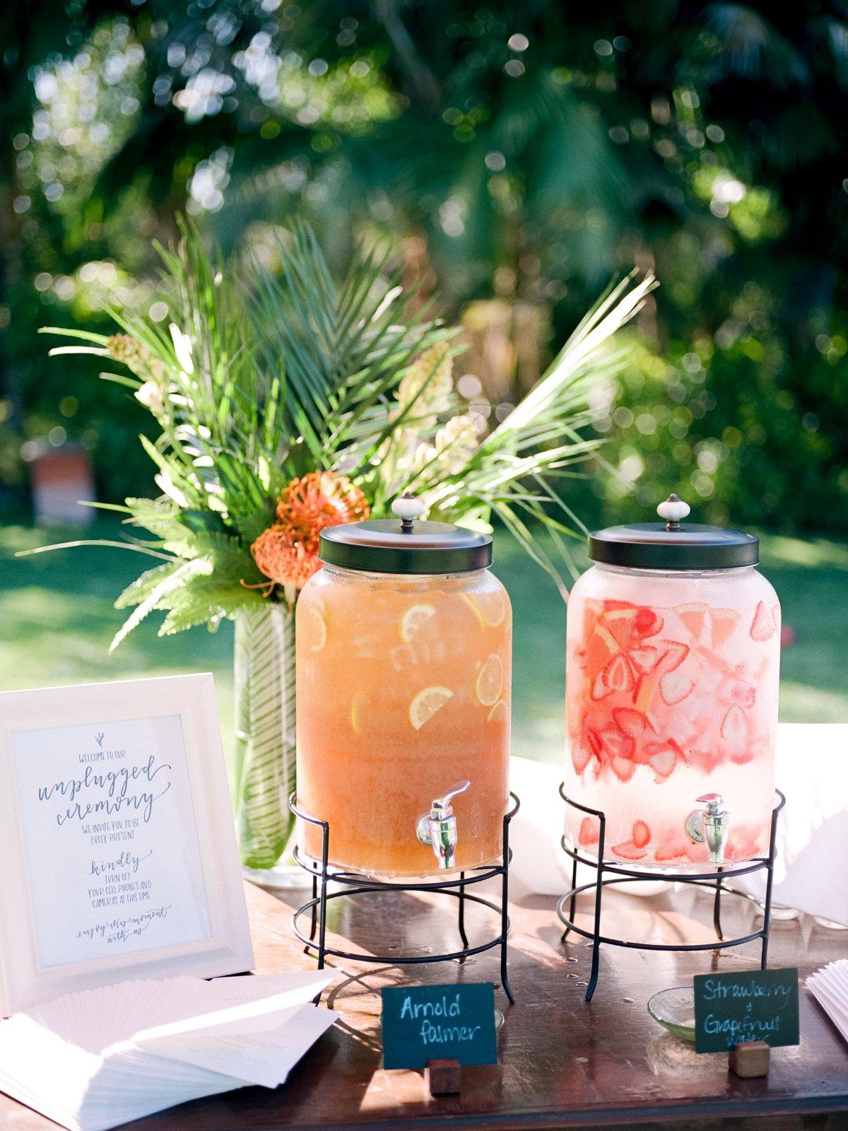 wedding cocktail drinks - photo by Anna Delores http://ruffledblog.com/chic-modern-wedding-at-four-seasons-santa-barbara
