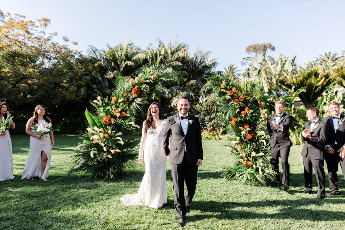 ceremony recessionals - photo by Anna Delores https://ruffledblog.com/chic-modern-wedding-at-four-seasons-santa-barbara