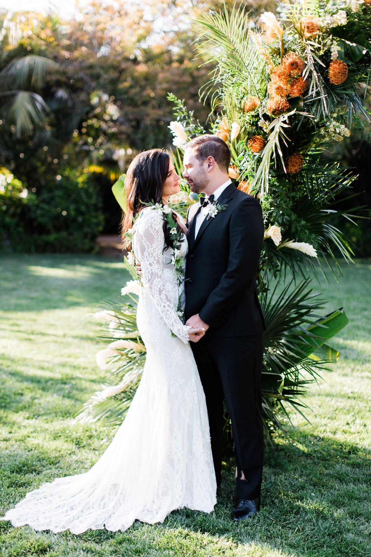 tropical wedding inspiration - photo by Anna Delores http://ruffledblog.com/chic-modern-wedding-at-four-seasons-santa-barbara